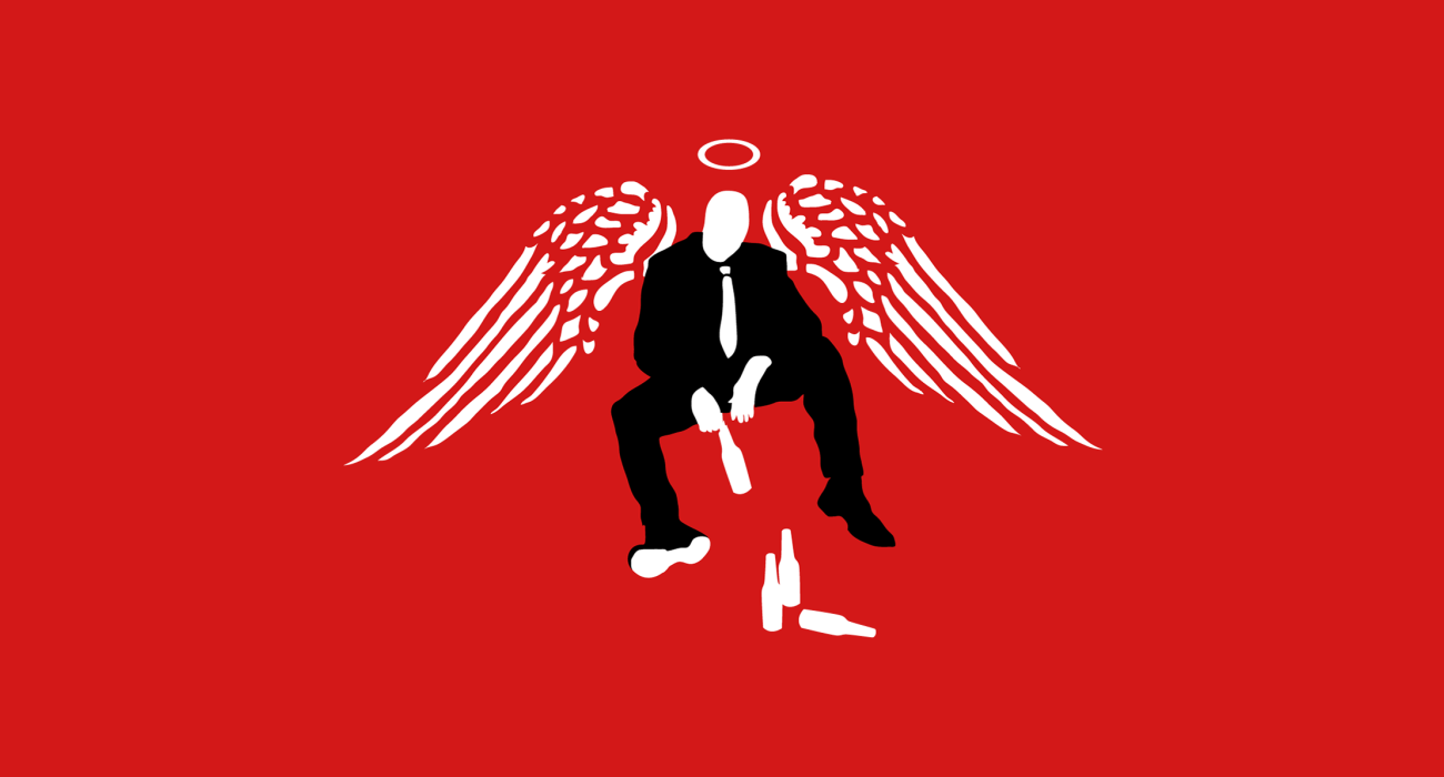 A down and out angel sitting on a curb with a bottle of beer dangling from his hand. I just thought it was a nice little combo