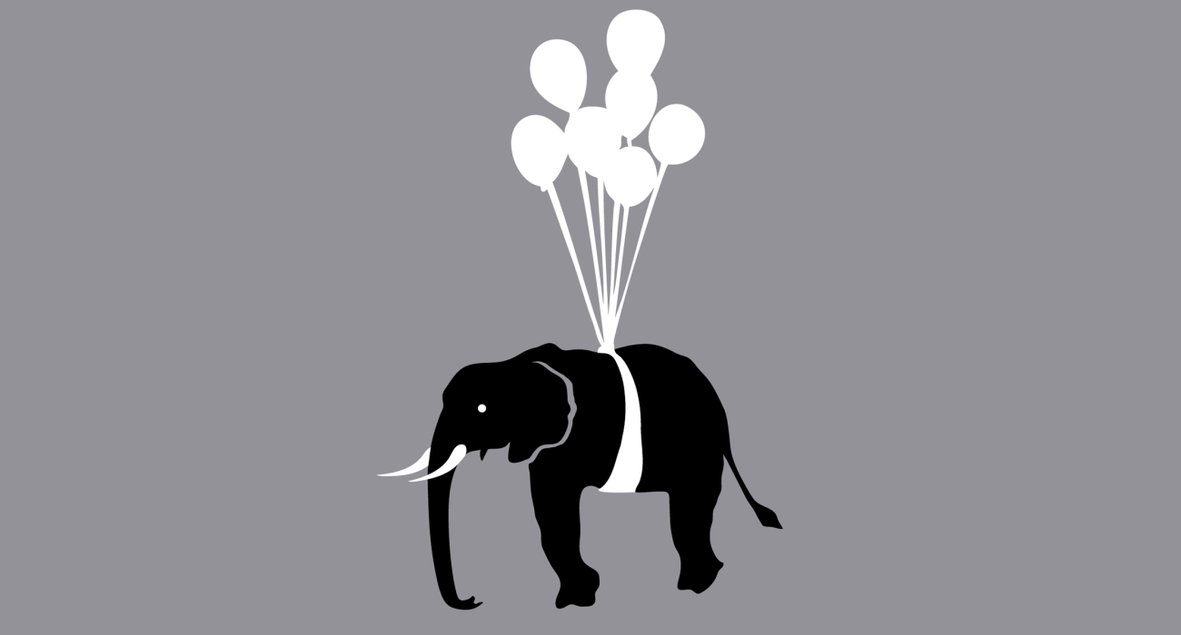 An elephant being suspended in the air with a bunch of balloons. One of my more lighthearted and whimsical offerings