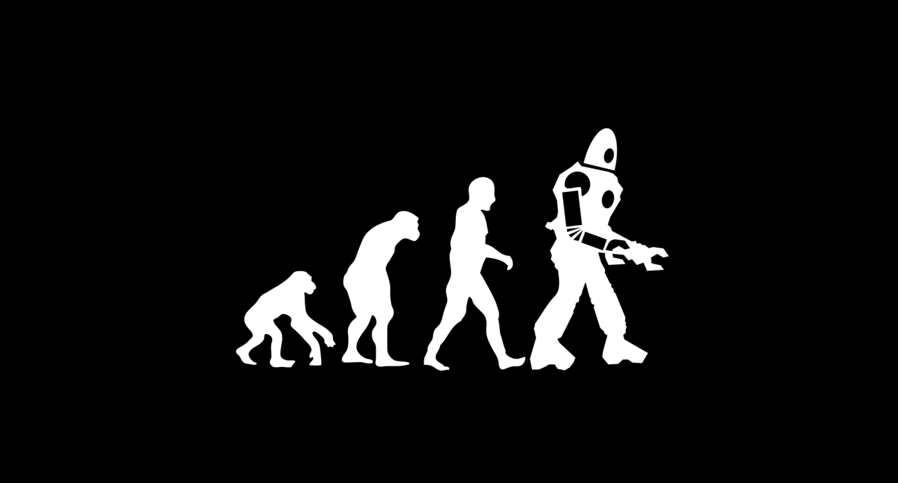 A classic evolution diagram except that the final stage isn't modern man but instead a terrible robot! Implying we mere mortals will soon be obsolete. I for one am looking forward to not facing all the expectations and pressures that comes with being the dominant lifeform on the planet