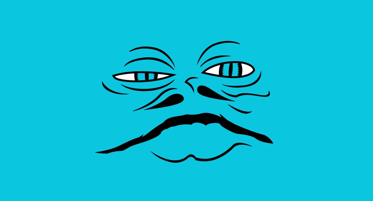 Jabba the Hutt's beautiful face smeared across a t-shirt