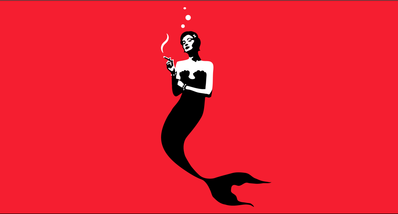 A cute and maybe a bit sassy mermaid sneaking an impossible smoke under the waves