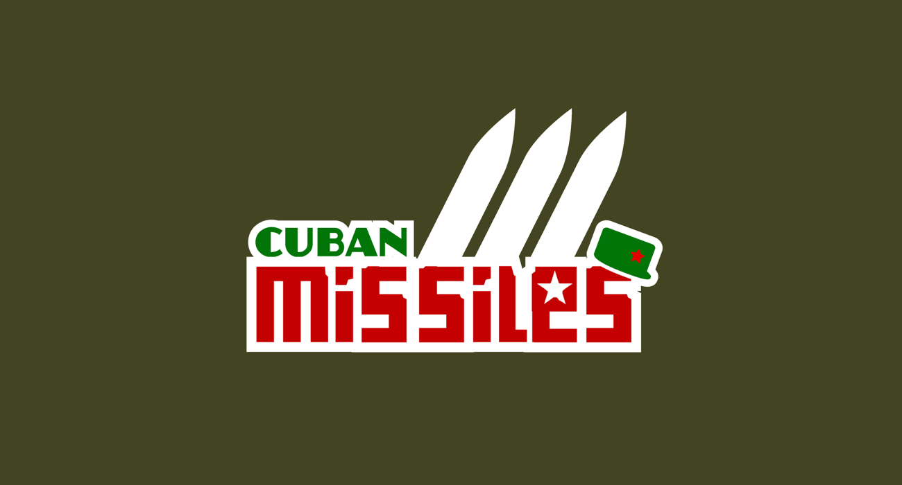 A trio of missiles, a dapper lil' military cap, and a soviet style block font combine to represent the cuban missile crisis of 1962