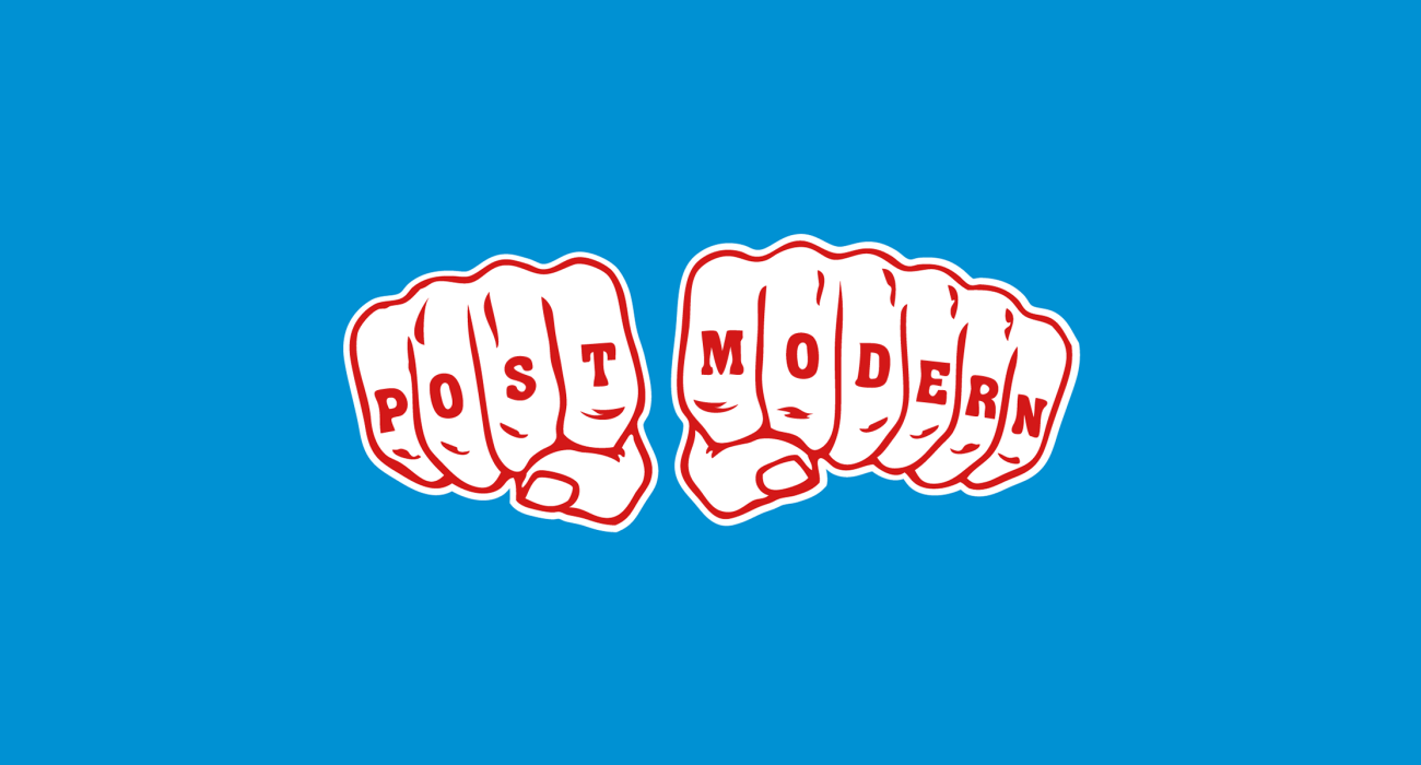 A pair of hands with 'Post' and 'Modern' written across the knuckles of their balled fists. This is totally deep, I'm sure