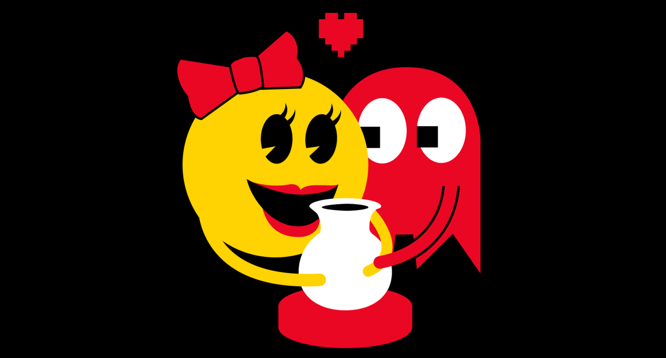 Ms. Pac Man and Blinky having a romantic moment over a pottery wheel. Ghosts just get hot and bothered by Unchained Melody I guess
