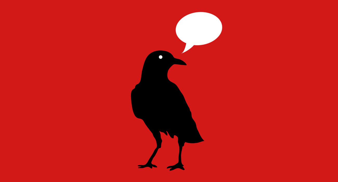 Ah yes a silhouette of a raven with an empty word balloon floating above his lil' head. Obviously a reference to Edgar Allen Poe's story 'The Raven'