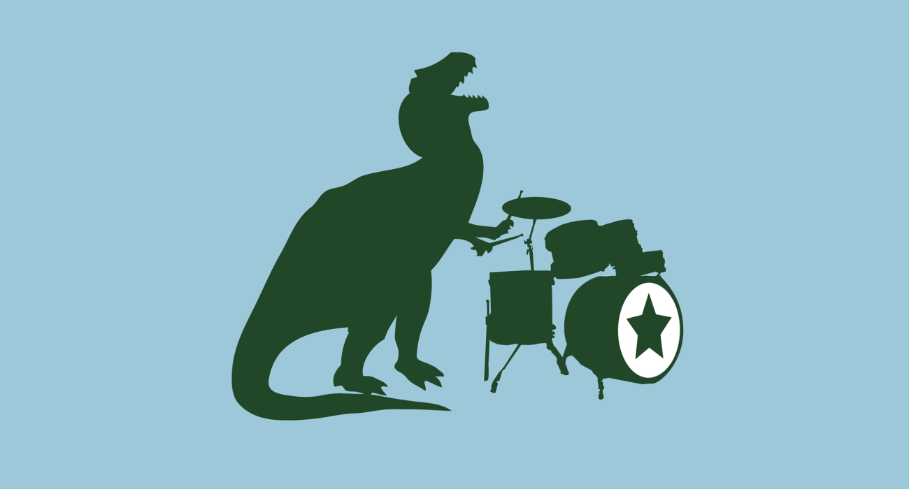 A big nasty ol' T-Rex rocking out on the drums. Which modern science tells us is was the most musical of all the dinosaurs. I just really like the idea of him flailing away with his teeny tiny arms