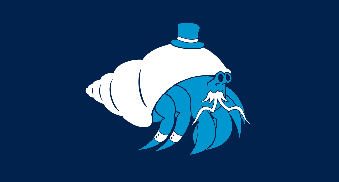 A fancy pants hermitcrab, dressed to the nines and ready for a night out on the town