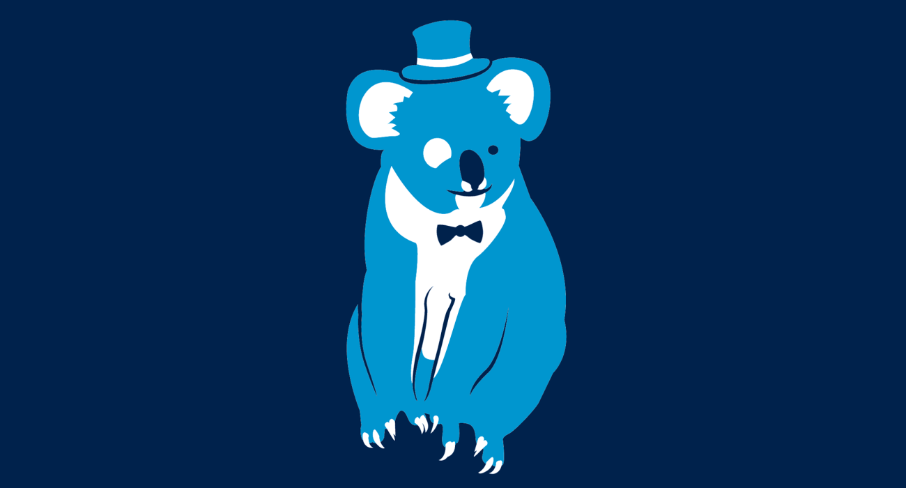 A fancy pants koala, dressed to the nines and ready for a night out on the town