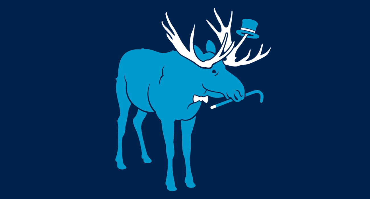 A fancy pants moose, dressed to the nines and ready for a night out on the town