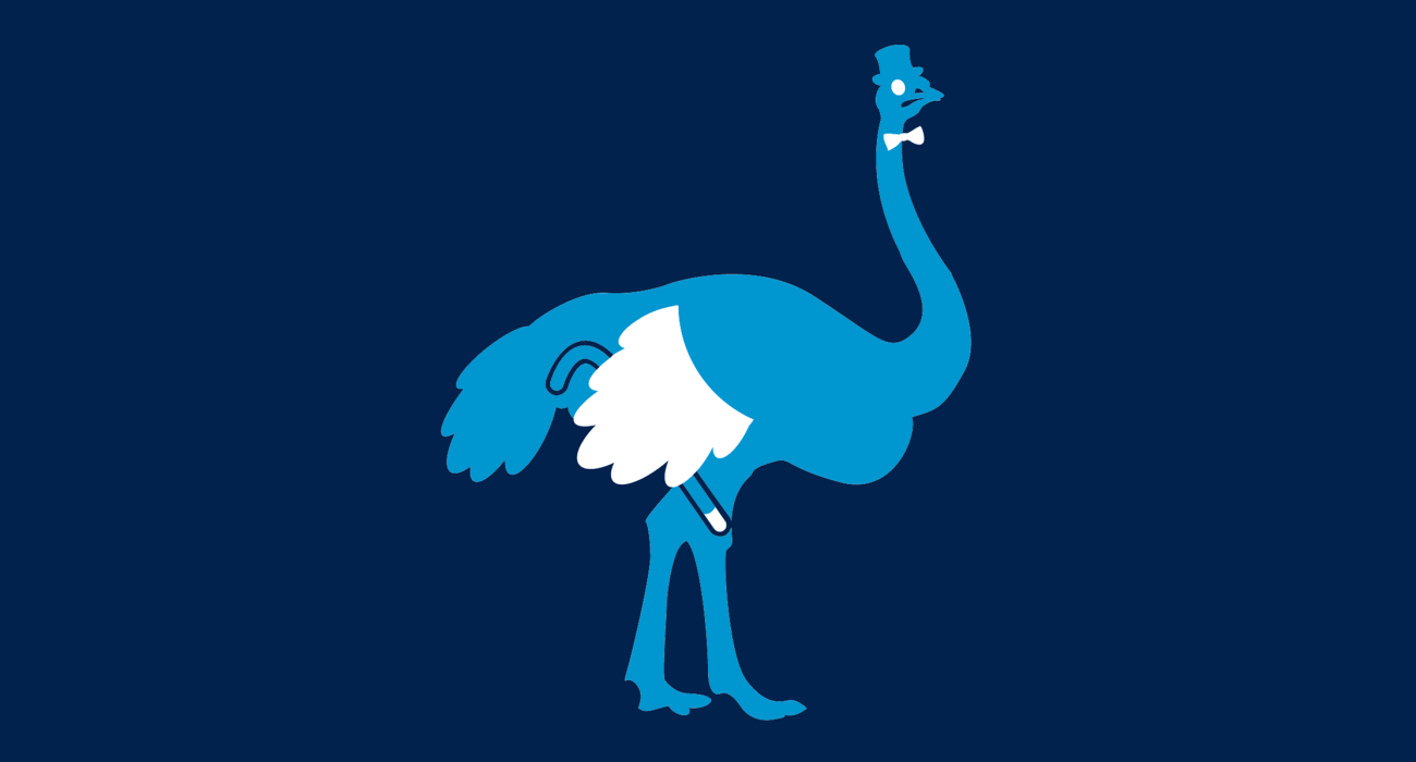 A fancy pants ostrich, dressed to the nines and ready for a night out on the town