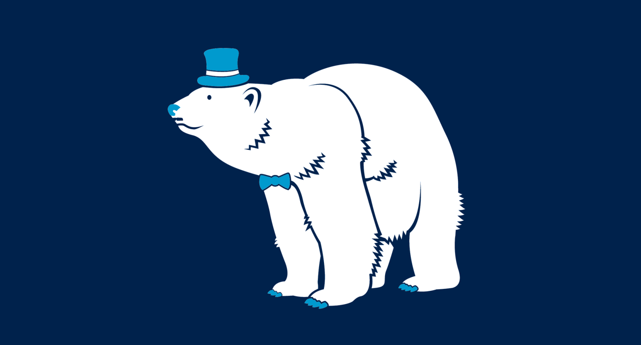 A fancy pants polarbear, dressed to the nines and ready for a night out on the town