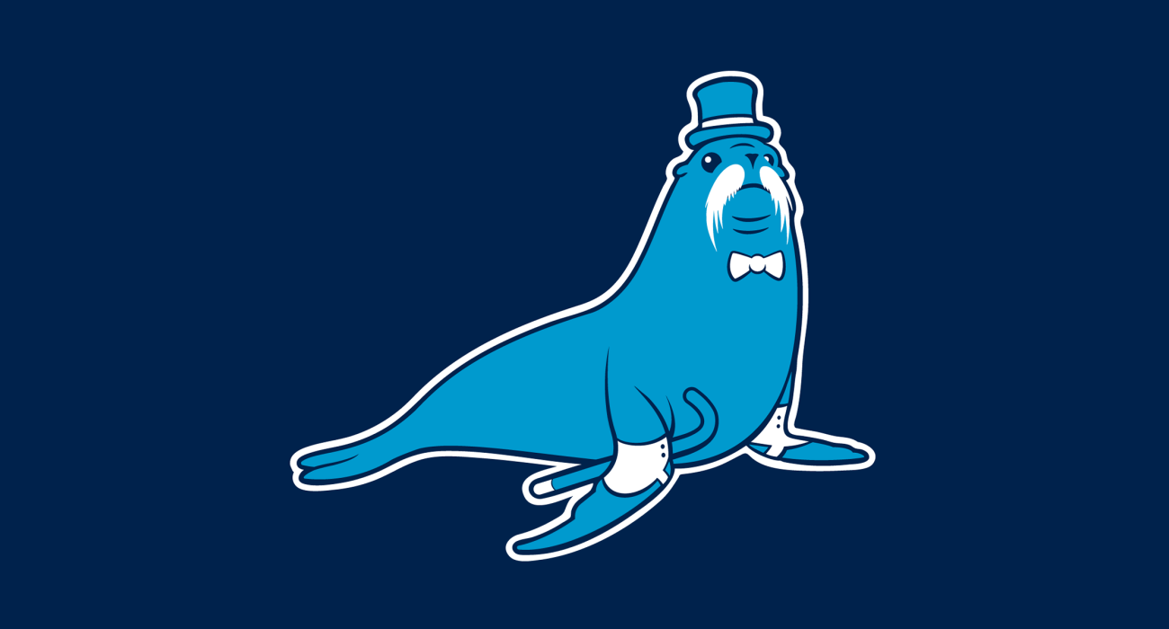 A fancy pants sea lion wearing a top hat and dressed to the nines, then slathered on a t-shirt
