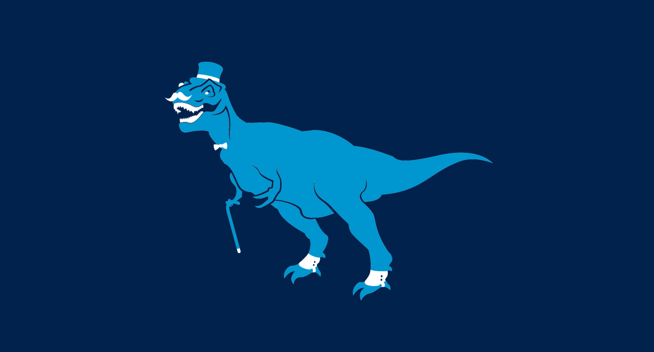 A fancy pants trex, dressed to the nines and ready for a night out on the town