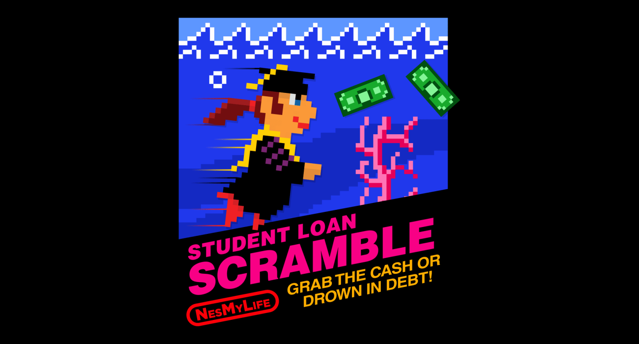 A recent graduate submerged in the metaphorical waters of student loan debt. A delightfully pink sprig of coral enters the scene, perhaps representing her father