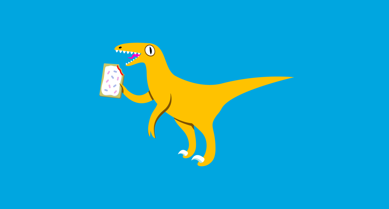 Does what it says on the tin: A Velociraptor Holding a Poptart..